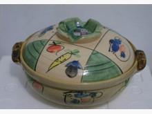彩繪高耐熱陶土大砂鍋鍋具全新