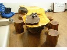 [9成新] 全實木一體成型泡茶桌椅 台灣檜木茶几無破損有使用痕跡