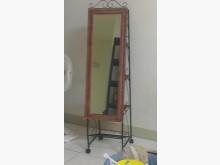 籐製有輪穿衣鏡(後有3層置物架)鏡子無破損有使用痕跡