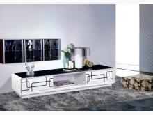 [全新] 幾何6.6尺白色黑玻長櫃5900電視櫃全新
