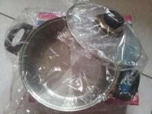 雙耳高級不锈鋼鍋高弧度強化玻璃蓋鍋具全新