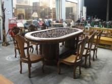 [全新] TK-H000H高級浮雕柚木餐桌餐桌椅組全新