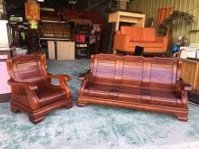 享受生活 柚木1人+3人座木沙發木製沙發有明顯破損