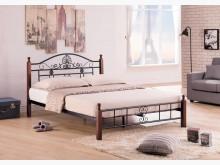 [全新] 麗莎柚木色5尺鐵製床台雙人床架全新