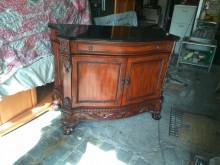 [9成新] 大理石桌面實木雕櫃120*52*收納櫃無破損有使用痕跡