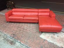 [9成新] 時尚艷紅色 乳膠皮高背L型沙發組L型沙發無破損有使用痕跡