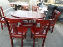 [9成新] 可伸縮實木餐桌椅組餐桌椅組無破損有使用痕跡