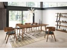[全新] 雷克斯6.6尺胡桃餐桌餐桌全新