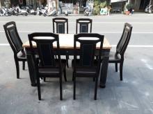 [9成新] 大理石餐桌+6椅餐桌椅組無破損有使用痕跡