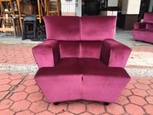 [9成新] 香榭*紫紅色 高級絨布一人座沙發單人沙發無破損有使用痕跡