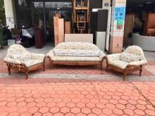[9成新] 鄉村風實木腳緹花布1+1+3沙發木製沙發無破損有使用痕跡