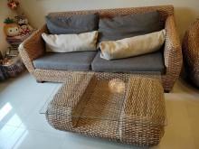 [8成新] 頑石藤製沙發3+1+大茶几籐製沙發有輕微破損