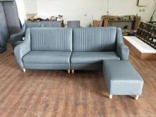 [全新] 合運二手傢俱全新布紋耐磨皮沙發3L型沙發全新