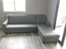 [全新] 合運二手傢俱全新布紋耐磨皮沙發4L型沙發全新