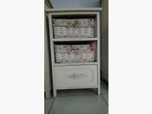 [7成新及以下] 法式典雅白木製收納櫃(玫瑰花布)收納櫃有明顯破損