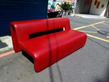 [8成新] 連欣二手傢俱-造型三人皮沙發雙人沙發有輕微破損