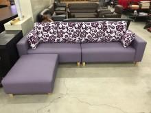 [全新] 大慶二手家具 藕紫色貓抓皮沙發L型沙發全新