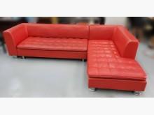 [9成新] A81506*紅色半牛皮L型沙發L型沙發無破損有使用痕跡