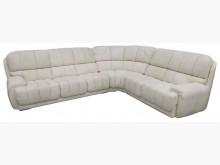 [8成新] A92305*白色L型半 牛皮L型沙發有輕微破損