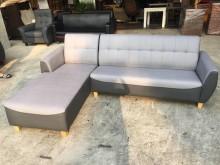 [全新] 新品淺灰深灰配色L型貓抓皮沙發L型沙發全新