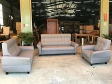 [全新] 新品淺灰水雲端貓抓皮3+2+1多件沙發組全新