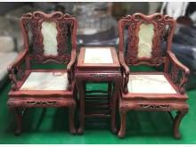 [7成新及以下] E102902*仿古大理石公婆椅木製沙發有明顯破損