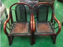 [7成新及以下] F102906*胡桃藤製單人椅*籐製沙發有明顯破損
