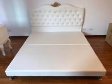 新品六尺白色皮革床底雙人床架全新