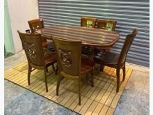 深柚木色餐桌椅(一桌六椅)餐桌椅組有輕微破損