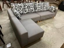 新品水鑽淺灰色L型貓抓皮沙發組L型沙發全新