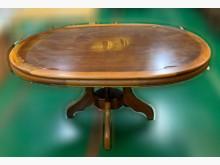 [7成新及以下] E120702*半實木圓餐桌*餐桌有明顯破損