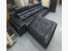 [9成新] A112809*黑色L型半牛皮沙多件沙發組無破損有使用痕跡