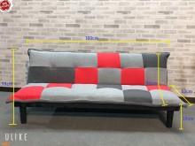 [全新] 大慶二手家具 新品紅灰拼布沙發床雙人沙發全新