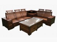 [8成新] L型樟木沙發含茶几*全新中古傢俱木製沙發有輕微破損