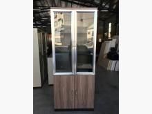 [9成新] 大慶二手家具 木紋銀框拉門書櫃書櫃/書架無破損有使用痕跡