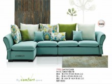 [全新] 高上{全新}8010L型藍色布藝L型沙發全新