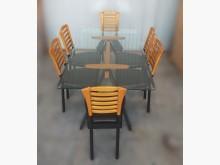 [8成新] E1026*玻璃餐桌+6椅*餐桌椅組有輕微破損