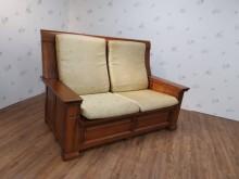 九成新牛樟木雙人沙發(含椅墊)木製沙發無破損有使用痕跡