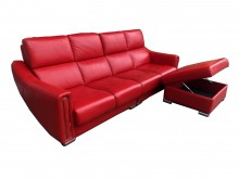 紅色L型半牛皮沙發L型沙發無破損有使用痕跡