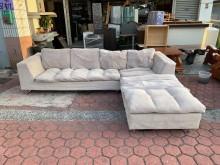 [9成新] 淺褐色絨布9.8尺 L型沙發組L型沙發無破損有使用痕跡