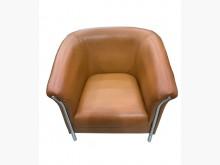 [9成新] 咖啡色半牛皮單人沙發單人沙發無破損有使用痕跡