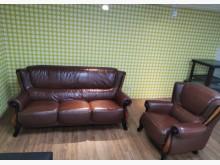 法式宮廷風3+1半牛皮沙發多件沙發組無破損有使用痕跡