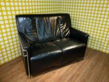 九成新烏黑亮麗半牛皮雙人沙發雙人沙發無破損有使用痕跡