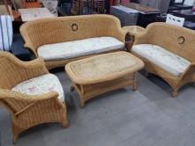 [8成新] 毅昌二手家具~丸十藤沙發組籐製沙發有輕微破損