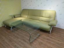 時尚蘋果綠半牛皮L型皮沙發含茶几L型沙發無破損有使用痕跡