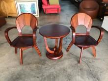 花梨木休閒桌椅三件組(椅子可旋轉其它桌椅無破損有使用痕跡