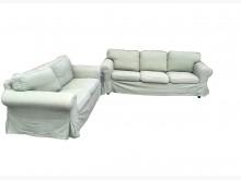 [9成新] 素綠布2+3沙發 * 二手中古多件沙發組無破損有使用痕跡
