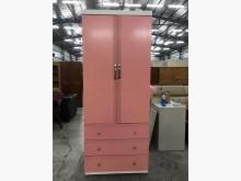 粉紅配白單人三抽拉門衣櫃衣櫃/衣櫥無破損有使用痕跡