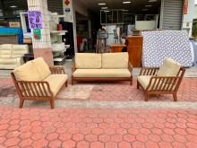 柚木實木1+2+3人座 沙發椅組木製沙發無破損有使用痕跡