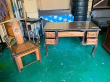 [9成新] 二手/中古 仿古書桌椅書桌/椅無破損有使用痕跡